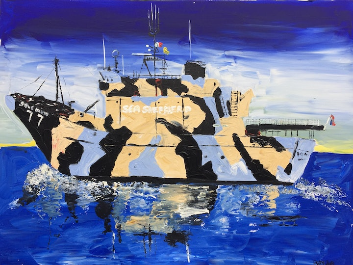 (CreativeWork) Sea Shepherd, Warrior of the Ocean by Patrick Brady. arcylic-painting. Shop online at Bluethumb.