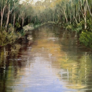 (CreativeWork) Peaceful River by Corrine Rapley. oil-painting. Shop online at Bluethumb.