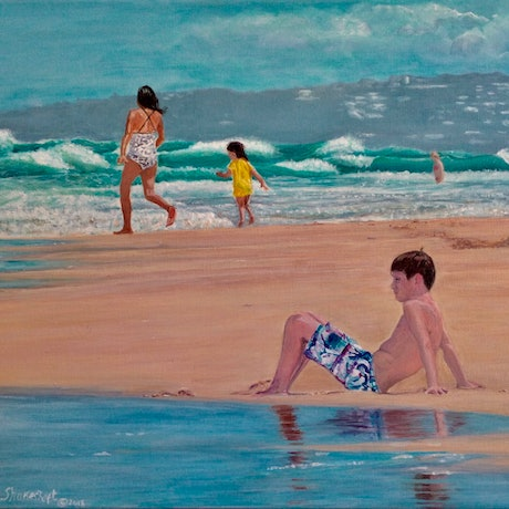 (CreativeWork)  The calm before the storm, Noosa Beach by Sue Shakeshaft. Acrylic Paint. Shop online at Bluethumb.