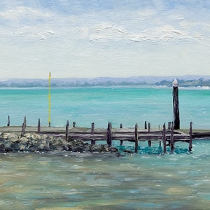 (CreativeWork) Dawesville Boat Jetty by Corrine Rapley. oil-painting. Shop online at Bluethumb.