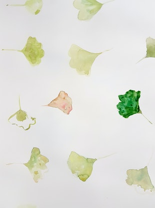 (CreativeWork) Ginko Leaf in Summer by Jacqueline Mcleish. Mixed Media. Shop online at Bluethumb.