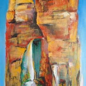 (CreativeWork) Shaft of Light in the Gorge  by Glenise Clelland. arcylic-painting. Shop online at Bluethumb.