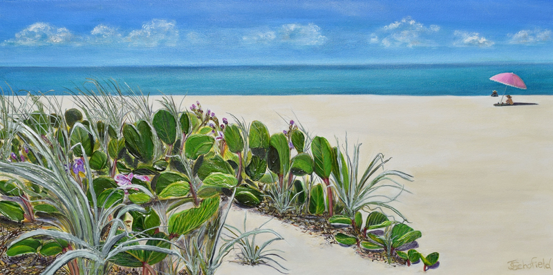 (CreativeWork) Beach Bean Dreaming by Julie Schofield. arcylic-painting. Shop online at Bluethumb.