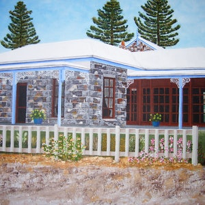 (CreativeWork) Bluestone Cottage by Jacqueline Pearsell. oil-painting. Shop online at Bluethumb.