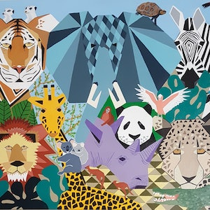(CreativeWork) Menagerie by Helen Saint-Smith. arcylic-painting. Shop online at Bluethumb.