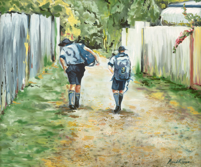 (CreativeWork) Shortcut to School by Meredith Howse. oil-painting. Shop online at Bluethumb.