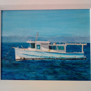 (CreativeWork) Moreton Bay Boat by Sue Shakeshaft. arcylic-painting. Shop online at Bluethumb.
