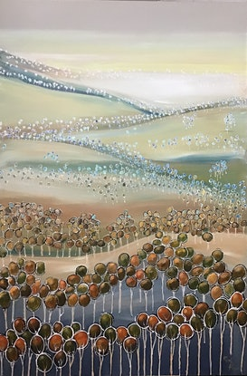 (CreativeWork) Rolling hills landscape  by Ron Brown. Acrylic Paint. Shop online at Bluethumb.