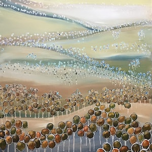 (CreativeWork) Rolling hills landscape  by Ron Brown. arcylic-painting. Shop online at Bluethumb.