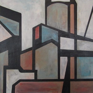 (CreativeWork) Steelworks by Claudia Claveria. arcylic-painting. Shop online at Bluethumb.