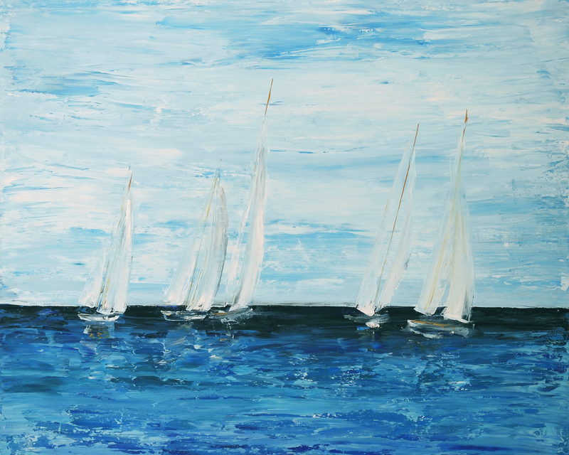 (CreativeWork) Sunday Sails by Naomi Veitch. arcylic-painting. Shop online at Bluethumb.