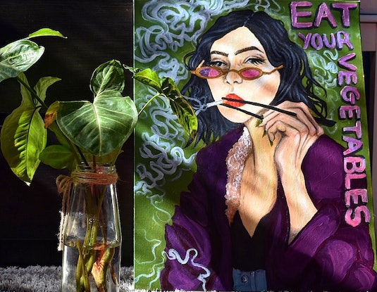 (CreativeWork) Eat Your Vegetables by Ava Marinos. #<Filter:0x00007fbc84915990>. Shop online at Bluethumb.