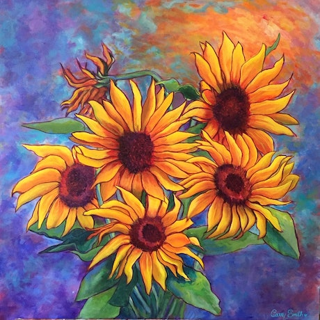 (CreativeWork) Sunflowers by Carry Smith. Acrylic Paint. Shop online at Bluethumb.