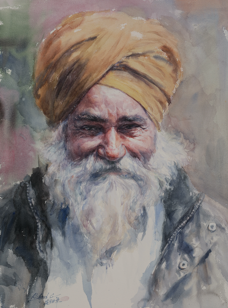 (CreativeWork) Senior Sikh Man by Richard(Tiejun) Chao. Watercolour Paint. Shop online at Bluethumb.