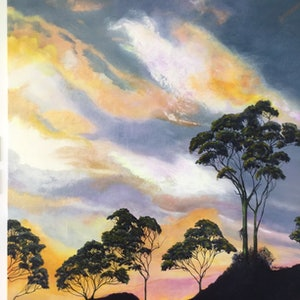 (CreativeWork) Beautiful sunset by Barbara Hardy. oil-painting. Shop online at Bluethumb.