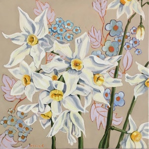 (CreativeWork) Spring Jonquils on Vintage  by Alicia Cornwell. oil-painting. Shop online at Bluethumb.