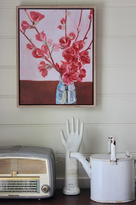 (CreativeWork) Japanese Japonica (Quince) in Vase - Floating Frame by Alicia Cornwell. Oil. Shop online at Bluethumb.