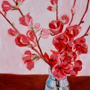 (CreativeWork) Japanese Japonica (Quince) in Vase - Floating Frame by Alicia Cornwell. oil-painting. Shop online at Bluethumb.