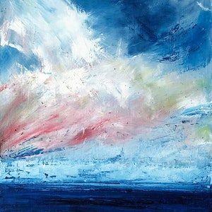 (CreativeWork) Wild Sky by David Clare. oil-painting. Shop online at Bluethumb.