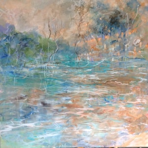 (CreativeWork) The summer billabong by sue bannister. oil-painting. Shop online at Bluethumb.