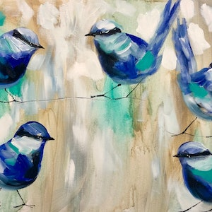 (CreativeWork) Blue wrens  get together  by Amanda Brooks. arcylic-painting. Shop online at Bluethumb.