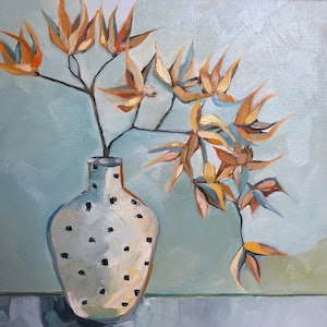 (CreativeWork) Spotted Vase by Sam Suttie. oil-painting. Shop online at Bluethumb.