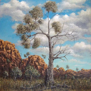 (CreativeWork) Outback Tree by David Kaneen. arcylic-painting. Shop online at Bluethumb.
