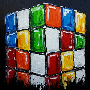 (CreativeWork) The Big Cube by Lisa Fahey. arcylic-painting. Shop online at Bluethumb.