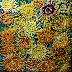 (CreativeWork) Sunflower 1 by Tea Ercoles. mixed-media. Shop online at Bluethumb.