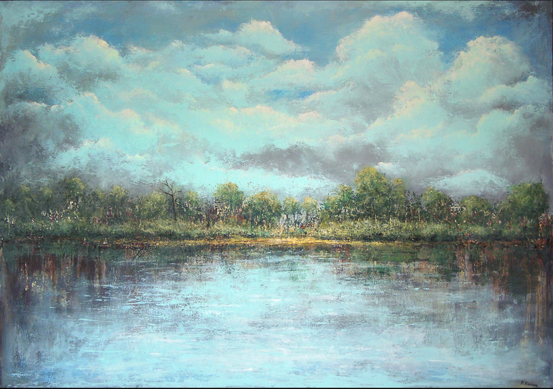 (CreativeWork) Lakescape by David Kaneen. arcylic-painting. Shop online at Bluethumb.
