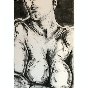 (CreativeWork) Female Life Study in Charcoal 18 Aug 2018, Ref-1001 by Phil Schulz. drawing. Shop online at Bluethumb.
