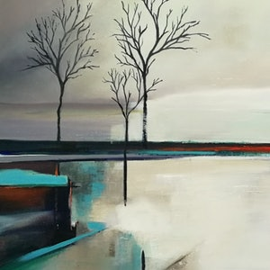 (CreativeWork) Across The Water by Cindy Glyde. oil-painting. Shop online at Bluethumb.