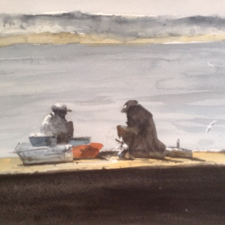 (CreativeWork) Ode to Old Fishermen by Bernd Rieve. Watercolour Paint. Shop online at Bluethumb.