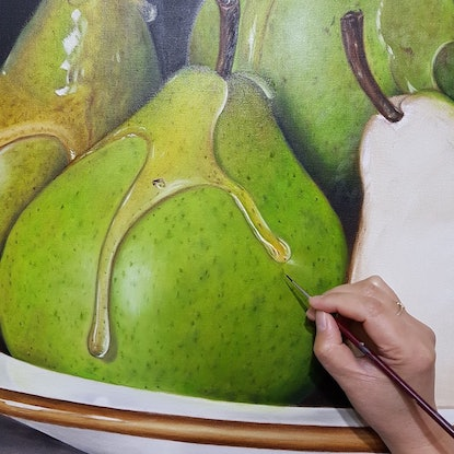 (CreativeWork) Luscious Pears - Still life Oil painting by Natasha Junmanee. Oil Paint. Shop online at Bluethumb.