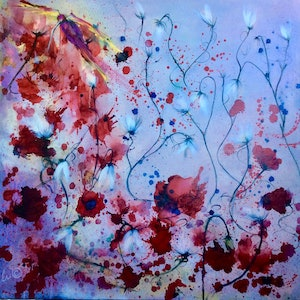 (CreativeWork) La Vie En Rose 100x100x1.5  (Ink) by Louise Croese. mixed-media. Shop online at Bluethumb.
