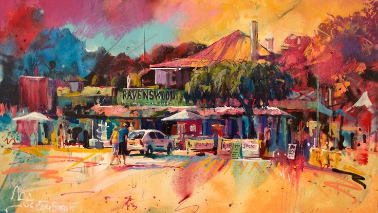 (CreativeWork) 'The Ravo' Ravenswood Pub WA by Jos Coufreur. Acrylic. Shop online at Bluethumb.
