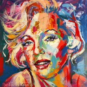 (CreativeWork) Marilyn Monroe by Jos Coufreur. arcylic-painting. Shop online at Bluethumb.