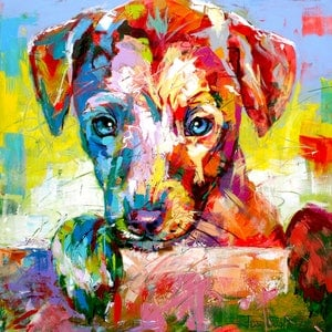 (CreativeWork) Puppy looking over fence by Jos Coufreur. arcylic-painting. Shop online at Bluethumb.