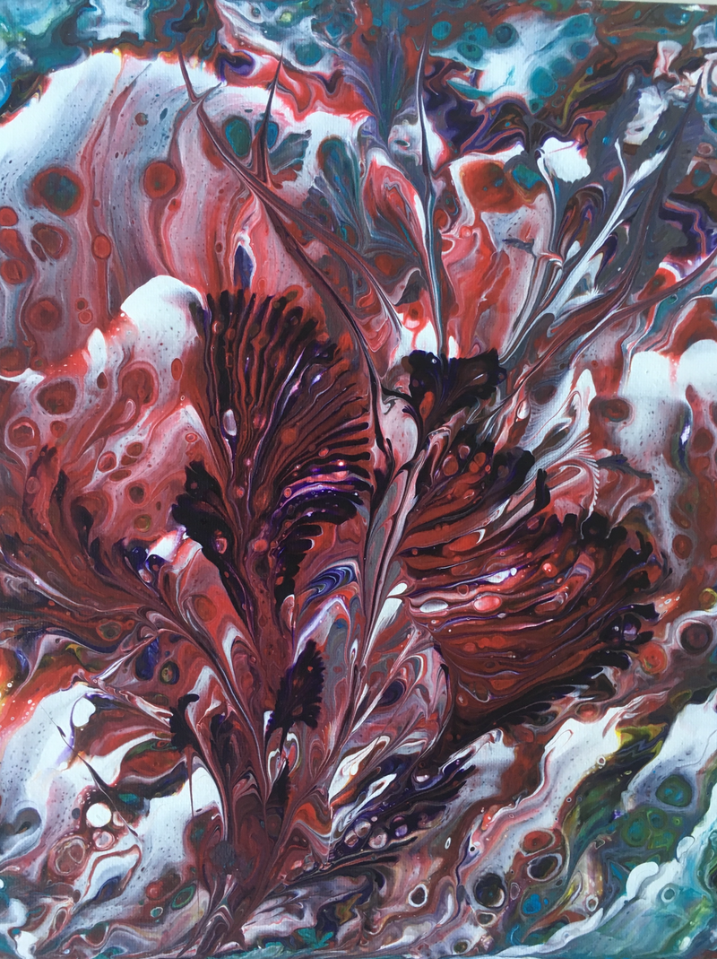 (CreativeWork) Flowers Within Flower by Marty Foster. arcylic-painting. Shop online at Bluethumb.