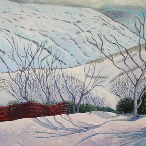 (CreativeWork) Red fence in the snow, Guthega, Kosciuszko by fiona smith. oil-painting. Shop online at Bluethumb.
