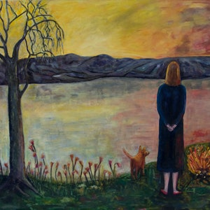 (CreativeWork) Just Thinking by Susannah Paterson. oil-painting. Shop online at Bluethumb.