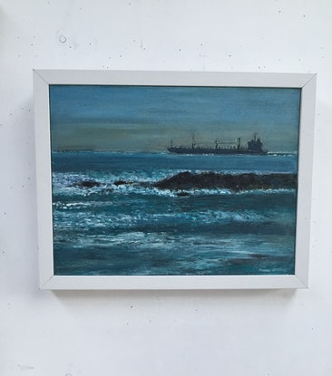 (CreativeWork) Empty Container ship returning across Bass Strait by Edna Broad. Oil Paint. Shop online at Bluethumb.