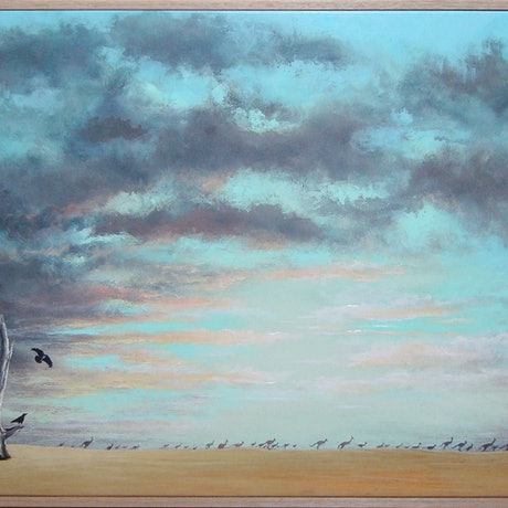 (CreativeWork) Crows and Roos by David Kaneen. Acrylic Paint. Shop online at Bluethumb.