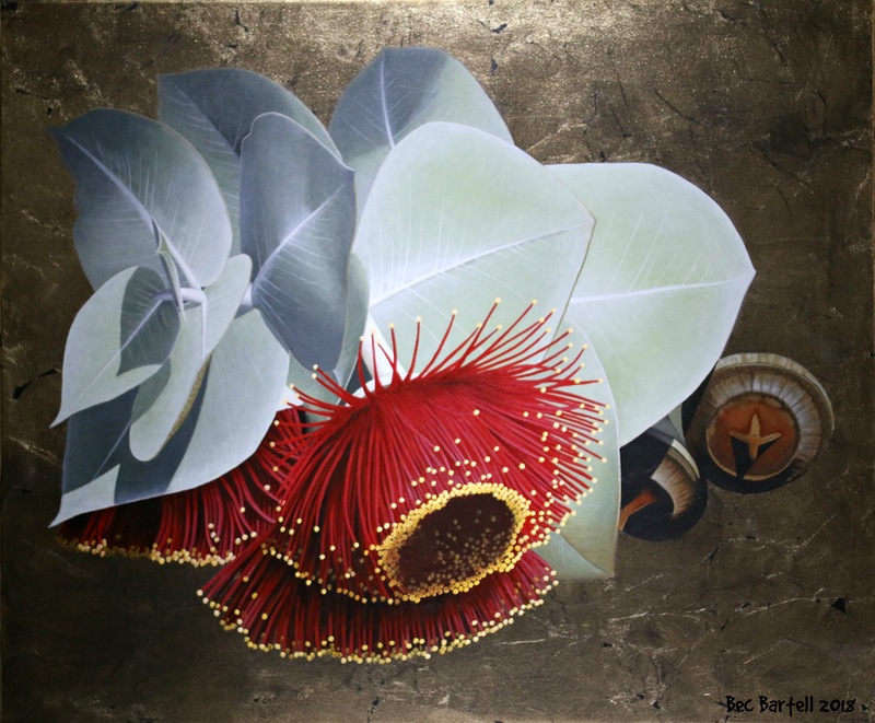 (CreativeWork) Crimson Spark by Bec Bartell. mixed-media. Shop online at Bluethumb.