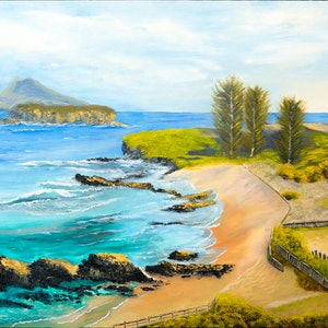 (CreativeWork) Norfolk Island Cemetery Bay by Kit McNeill. oil-painting. Shop online at Bluethumb.