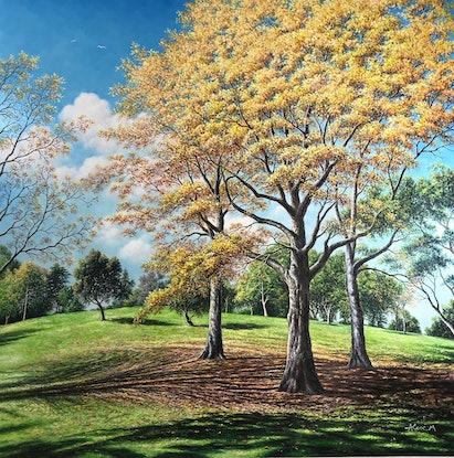 (CreativeWork) Autumn Melody  by Alex Mo. Oil Paint. Shop online at Bluethumb.