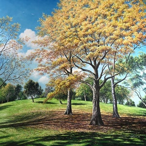 (CreativeWork) Autumn Melody  by Alex Mo. oil-painting. Shop online at Bluethumb.