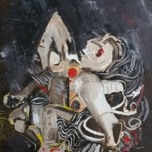 (CreativeWork) Hairdryer and Iron by Tim Nash. oil-painting. Shop online at Bluethumb.