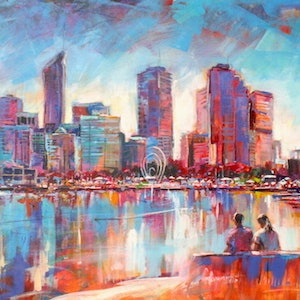 (CreativeWork) Elizabeth Quay, Perth by Jos Coufreur. arcylic-painting. Shop online at Bluethumb.