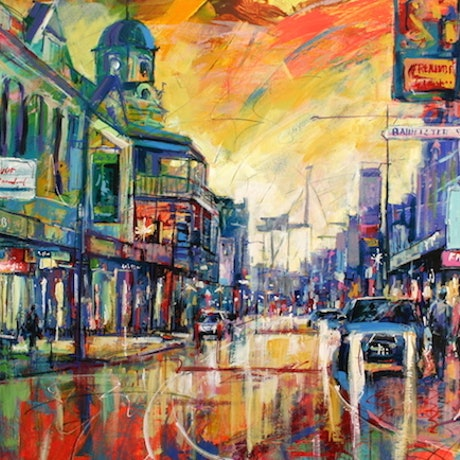 (CreativeWork) Fremantle by night by Jos Coufreur. Acrylic Paint. Shop online at Bluethumb.